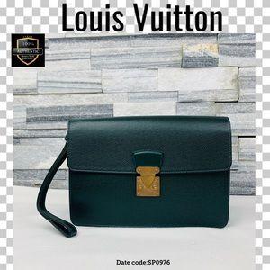 Louis Vuitton second bag clad taiga green